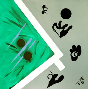 Composition 14. 2013. $3200. 45.5cm H x 45.5cm W. Oil on canvas stretcher. Unframed. Copyright Daphne Mason