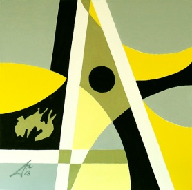 Composition 3. 2013. $2300. 45.5cm H x 45.5cm W. Oil on canvas stretcher. Unframed. Copyright Daphne Mason