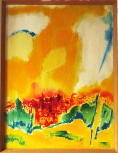 DM002 Summer City. 1969. $3500. Oil on board with wooden frame. 85cm H x 64.5cm W (incl frame). Copyright Daphne Mason