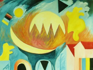 Howl (Baying on a moon night). 2012. Oil on canvas. 102cm W x 76cm H. Copyright Daphne Mason