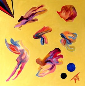 Nebulon 2. 2012. $4150. 61cm H x 61cm W. Oil on canvas stretcher. Unframed. Copyright Daphne Mason