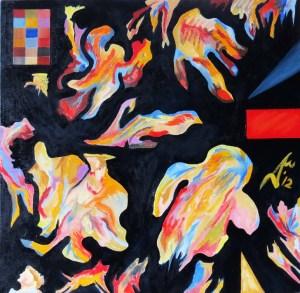 Nebulon 4. 2012. $4150. 61cm H x 61cm W. Oil on canvas stretcher. Unframed. Copyright Daphne Mason