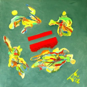 Nebulon 7. 2012. $1950. 38cm H x 38cm W. Oil on canvas stretcher. Unframed. Copyright Daphne Mason