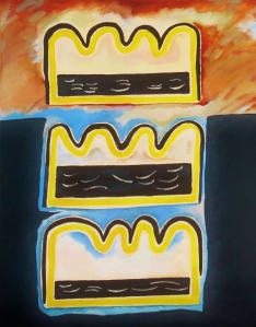 Expatratriate series 3. 1983. Daphne Mason. Oil on canvas stretcher. 51cm W x 66cm H