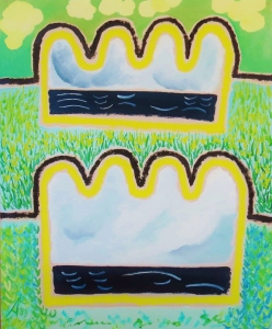 Expatratriate series 4. 1983. Daphne Mason. Oil on canvas stretcher. 51.5cm w x 64cm H