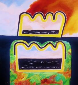 Expatratriate series 7. 1983 . Daphne Mason. 65cm W x 75.5 cm H.