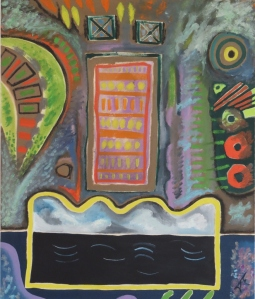 Expatriate celebration Of Living Phase 1. 1979. Daphne Mason. Oil on canvas stretcher. 78cm W x 92.5cm H