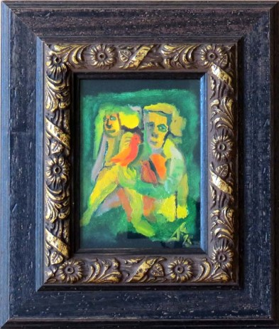 dm006-figures-with-birds-1995-1050-oil-on-card-ornate-wooden-frame-with-gilt-detail-and-glass-36cm-h-x-31cm-w
