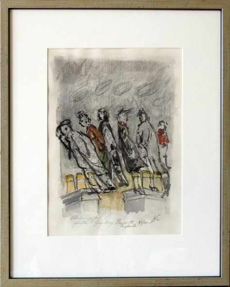 dm010-chimney-pots-and-people-grey-day-plymouth-england-2002-1300-watercolour-on-paper-framed-w-glass-42cm-h-x-33-3cm-w
